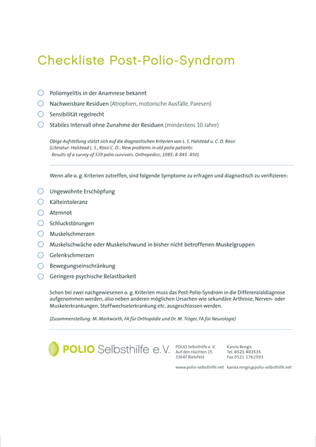 Checkliste Post-Polio-Syndrom